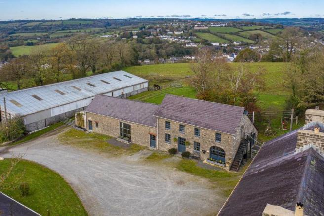 Aerial View of Main House & Outbuilding