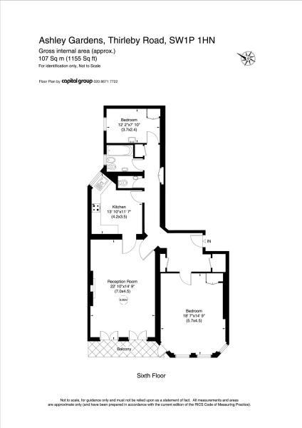 145A Ashley Gardens SW1P Floorplan