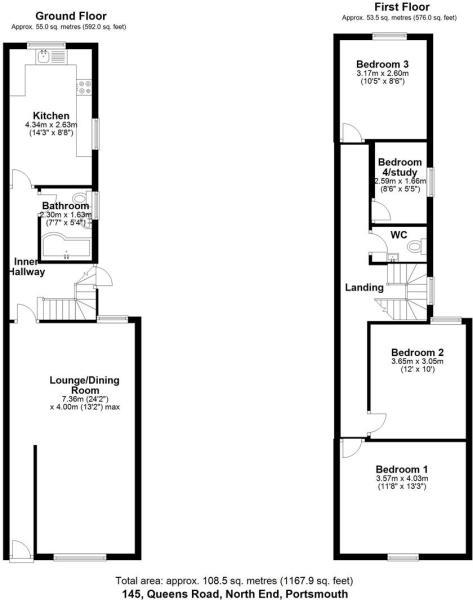 Floor plan 145 Queens Road North End PO2 7LU (003)
