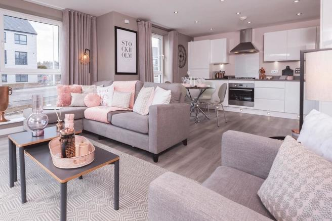 Example of an open plan kitchen/living room within an apartment