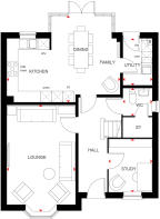 Ground floor plan of 4 bed Holden Special 2 at Wychwood Park