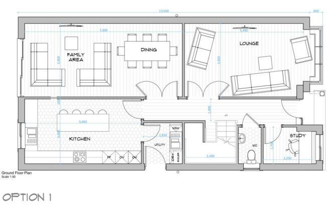 002 House Type A - Ground Floor Plan - Seperate Ki
