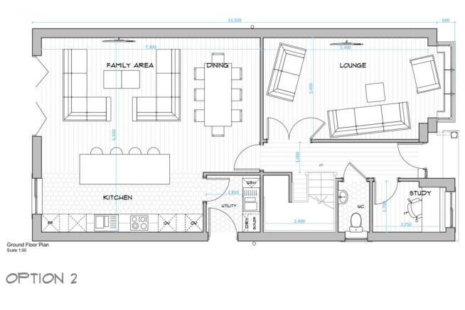 002 House Type A - Ground Floor Plan - Open Plan L