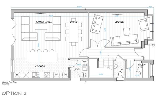 002 House Type A - Ground Floor Plan - Open Plan L