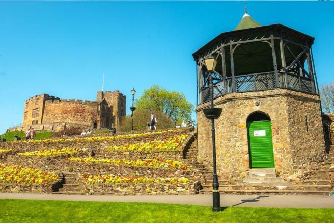 Tamworth castle and bandstand