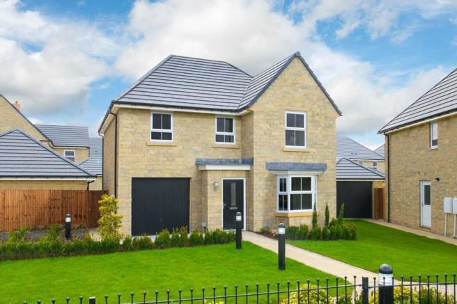 External view of Millford style home in stone finish
