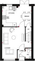 Floor plan showing the ground floor of the Maidstone 3 bedroom home