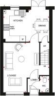 Floor plan showing the ground floor of the Maidstone 3 bedroom home