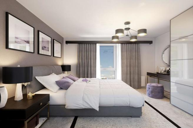 A typical interior bedroom view of our Berrington Place apartments