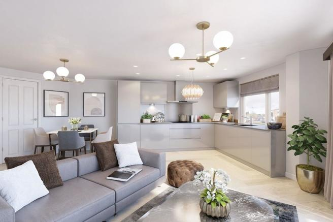 CGI interior view of open plan living space at Berrington Place