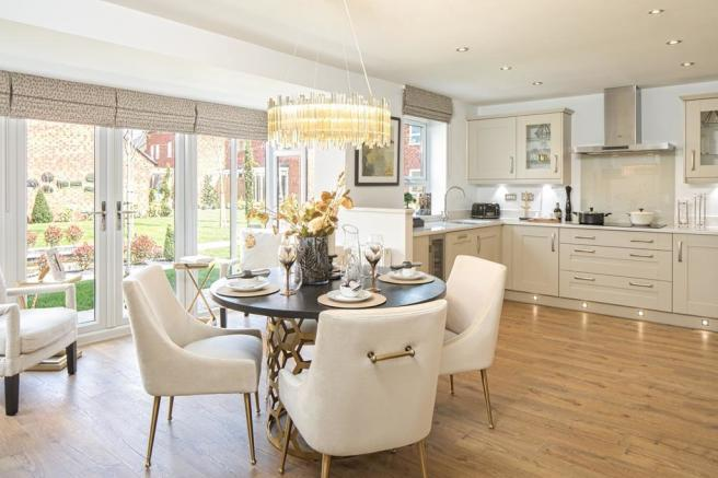 Internal view Holden 4 bedroom detached home kitchen with view to the garden