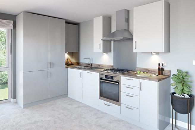 Inside view of kitchen. The Loughton. 1 bed apartment.