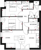 Floorplan of the Hornsea - 2 bed apartment.