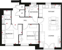 Floorplan of the Coleford, 2 bedroom apartment.
