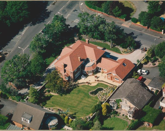 Aerial view taken shortly after property was built