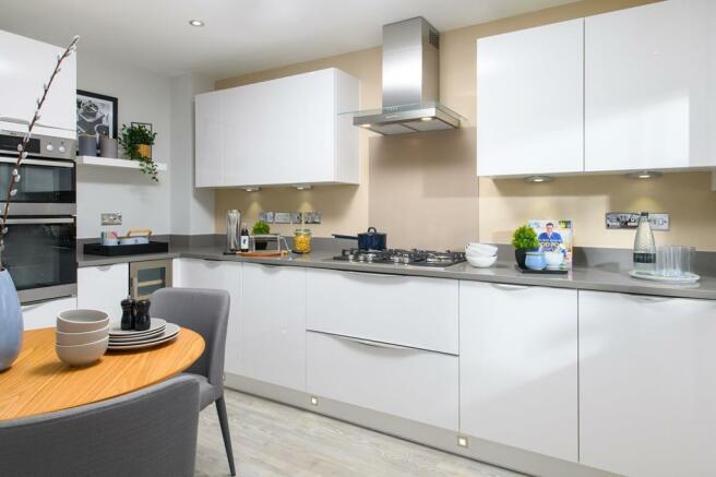 Internal image of the Woodcote 3 storey kitchen