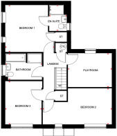 First floor layout for the Almond by Barratt Homes at Bertone Gardens