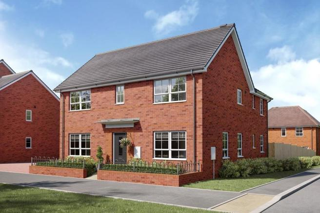 CGI - Front view of three bedroom Almond