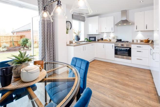 Inside view of the open plan kitchen. The Maidstone. 3 bedroom home.