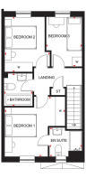 First floor plan of the Ellerton. 3 bed home.