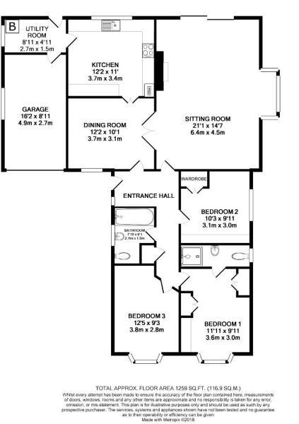 Floor Plan - 7 Rutland Close, South Witham, NG33 5