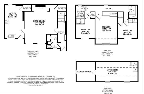 Floor Plan - Dove Cottage, 4 Mayflower Mews, Uppin