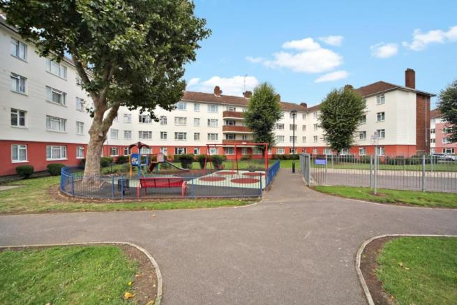 Communal lawns and playground