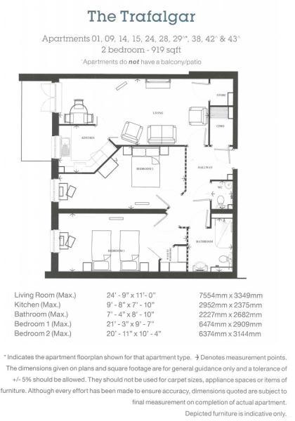 Apartments 1, 9, 14, 15, 24, 28, 29, 38, 42 & 43 -