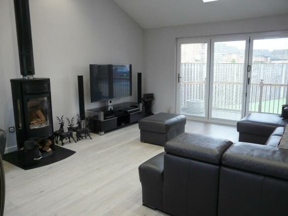 lounge with wood bur