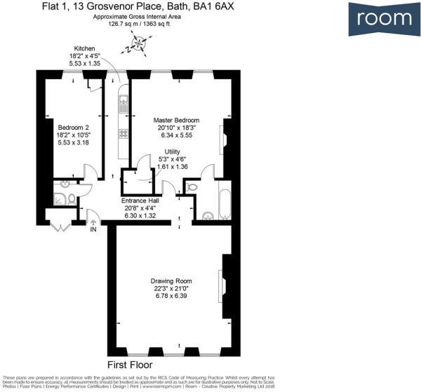 Flat 1, 13 Grosvenor Place, Bath, BA1 6AX - FP.jpg
