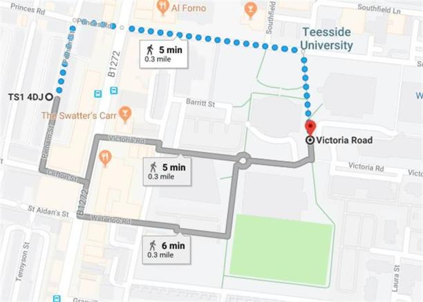 Map to Teesside University