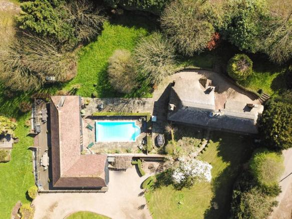Manor Farm House and Barn Aerial View