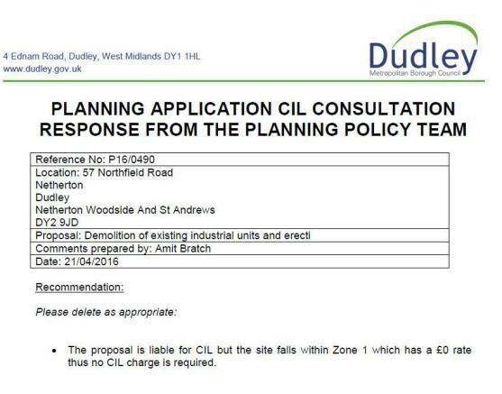 CIL CONSULTATION RESPONSE