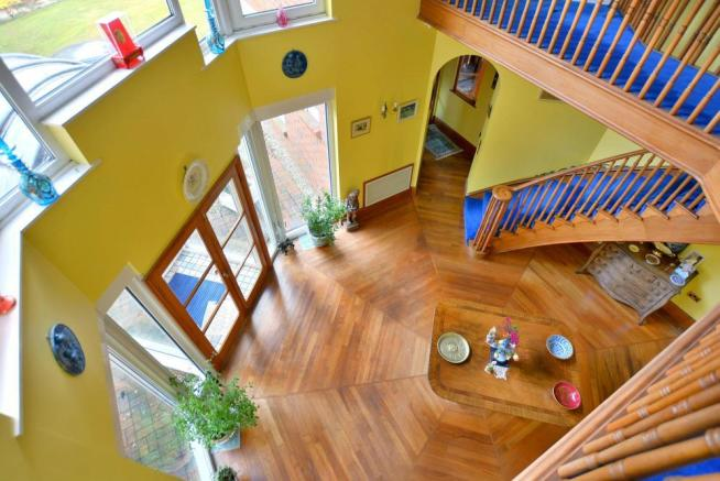 View from balcony into entrance hall