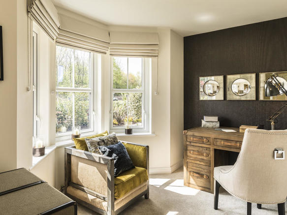 Study room with feature bay window