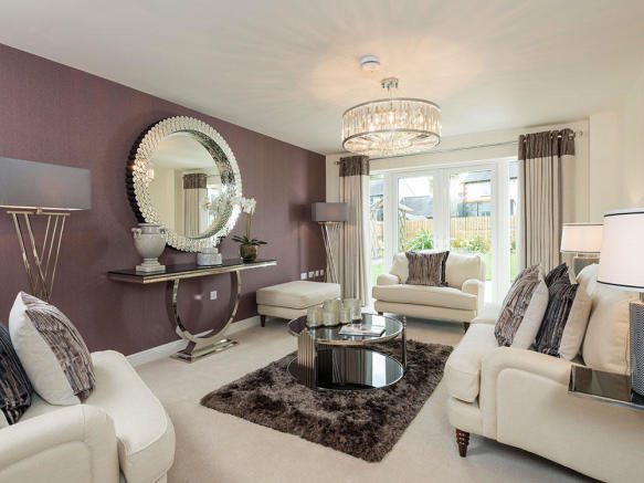 Beautiful lounge with French doors to rear garden