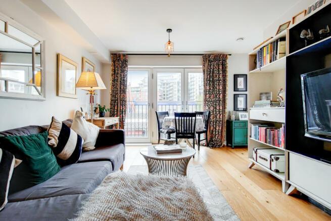 Living room with double doors