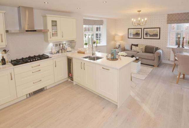 Open plan kitchen with family and breakfast area