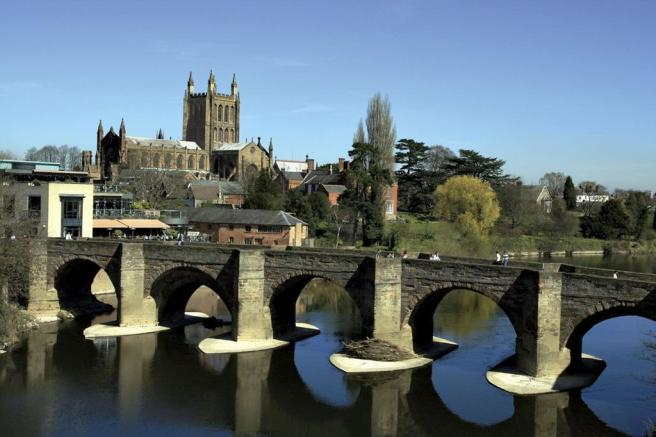 River Wye overlooking Hereford Cathedral