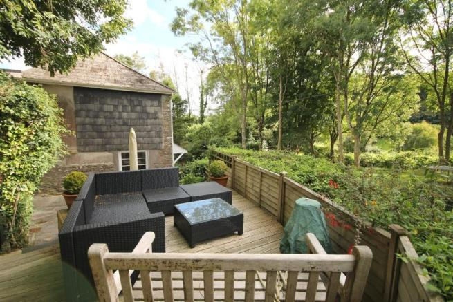 raised patio area