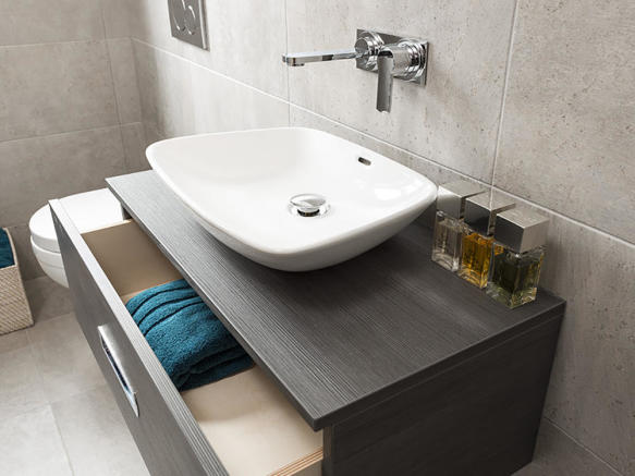 Bathrooms with fitted vanity units