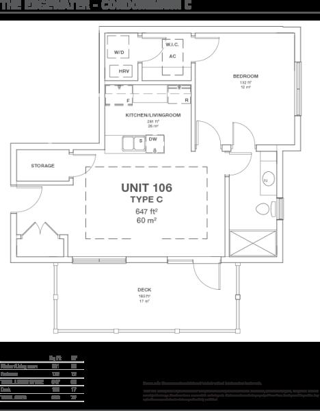 Condo 1 bed F. Plan
