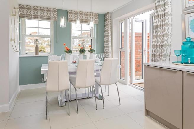 Dining area with French doors to garden