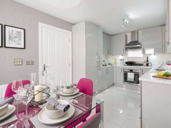 Fully fitted kitchen/dining area with bay window