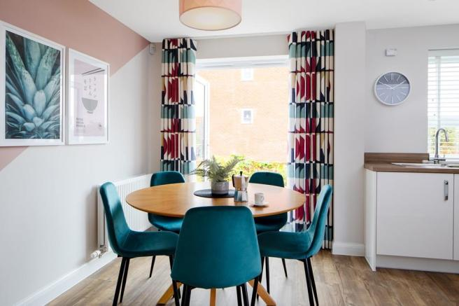 Inside view of dining area with French doors open. Maidstone. 3 bed home.