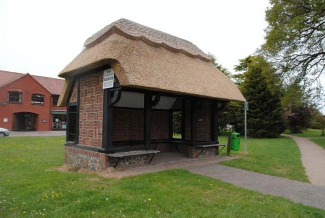 thatched bus stop