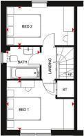 Floorplan of the Kenley. Ground floor. 2 bed home.