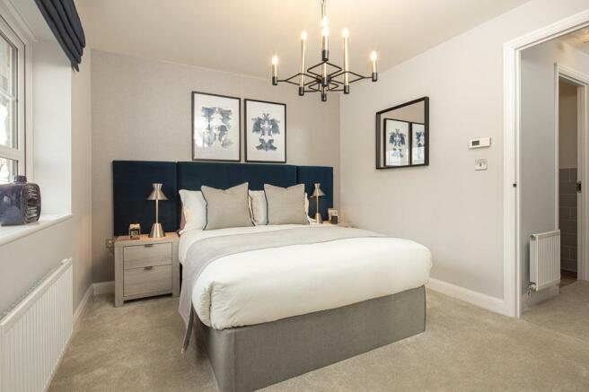 En suite master bedroom internal image in the Kenley Show Home at Birds Marsh View, Chippenham