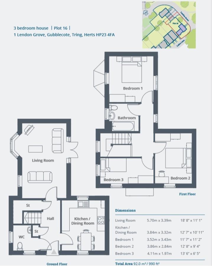 3 bedroom detached house for sale in Lendon Grove, Gubblecote, Tring