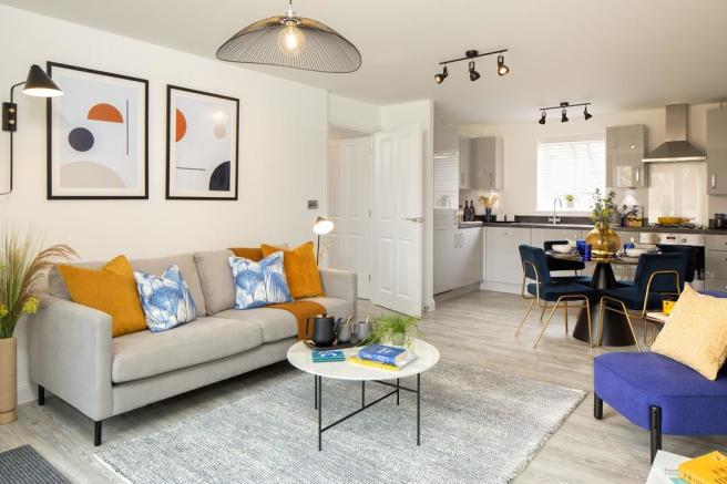 Inside view of the Coleford open plan lounge/kitchen area. 2 bed apartment.